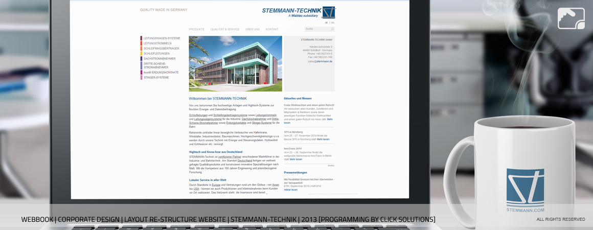 Website Re-Structure & Layout Stemmann-Technik